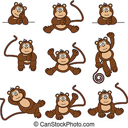 Illustration set of 9 cute and cheeky monkeys