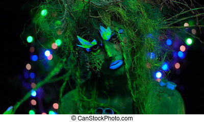 Cheeky Mystic green dryad in UV fluor black light with...