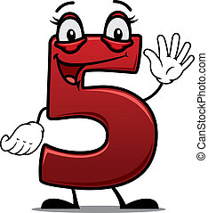 Cheeky waving cartoon number 5