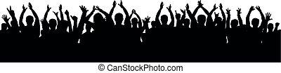 Cheer audience applause. Crowd of people applauding vector silhouette