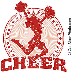 Cheer Design - Vintage - Illustration of a cheer design in a...