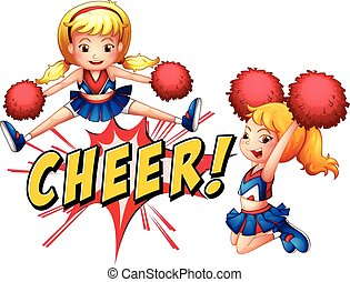Cheer girls - Girls jumping with cheer icon