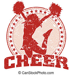 Cheer Jump Design - Vintage - Illustration of a cheer design...