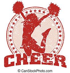 Cheer Jump Design - Vintage - Illustration of a cheer design...