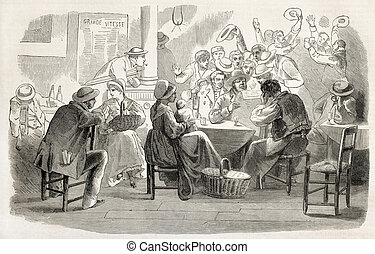 Cheer - Old illustration of people cheering inside a bar ...