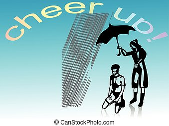 cheer up. two abstract silhouete under rain