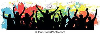 cheer., vecteur, célébrer, youth., gens, illustration, acclamation, amis, foule, fond, silhouette., coloré