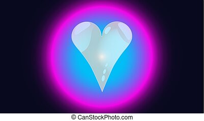 Cheerful abstract beautiful loving tender bright heart in a bubble, circle, glowing neon ball festive favorite unique heart. Back background Vector illustration