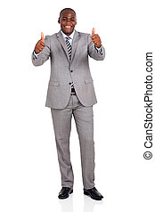 african american businessman giving thumbs up