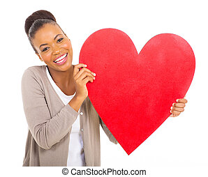 african american girl with heart shape - cheerful african...