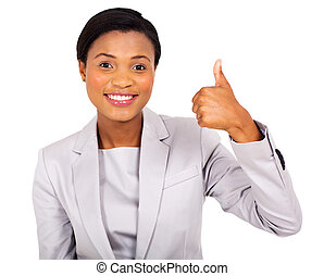 african business executive giving thumb up