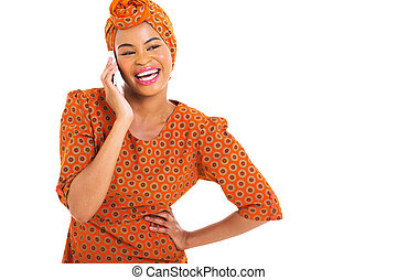 african woman talking on smart phone