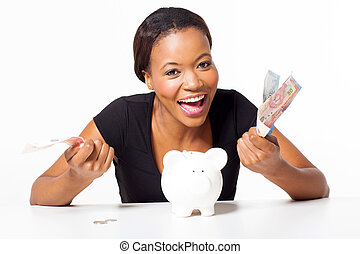 african woman with money
