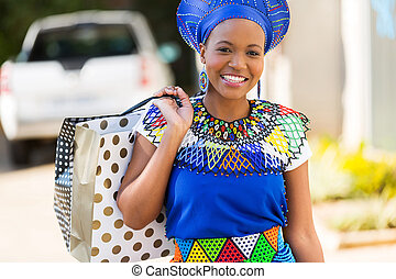 african young lady in shopping mall