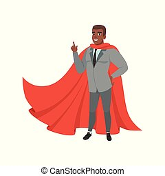 Cheerful afro-american business man standing with index finger up. Male character in suit, tie and red superhero mantle. Successful office worker. Flat vector design