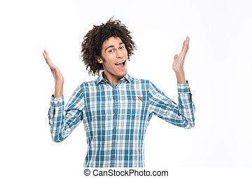 Cheerful afro american man with curly hair