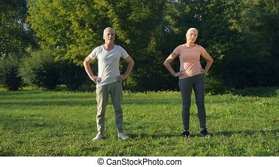 Cheerful aged couple doing warm up exercises