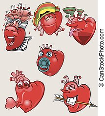 Cheerful and different hearts on the isolated background.