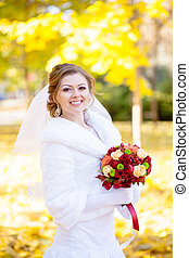 cheerful and gentle charming bride