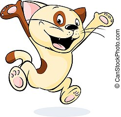 cheerful and happy cat jumps - vector illustration