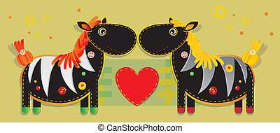 Cheerful applique fabric with two zebras