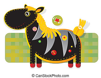 Cheerful applique fabric with zebra