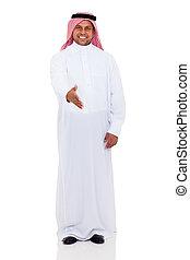 arabian man hand shake gesture - cheerful arabian man hand...
