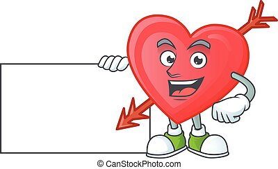 Cheerful arrow love cartoon character having a board