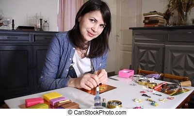 cheerful artist woman - young woman artist creating hand...
