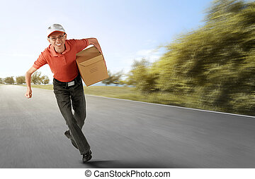 Cheerful asian courier running with holding the package
