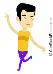 Cheerful asian man dancer dancing.
