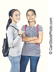 cheerful asian teenager with school backpack standing with smiling face ond white background