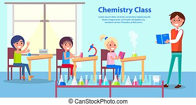 Cheerful Atmosphere in Chemistry Class Poster