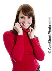 Cheerful attractive woman in red sweater. Isolated on white.