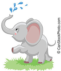 cheerful baby elephant with a spray of water on a white ...