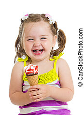 cheerful baby girl eating ice cream isolated