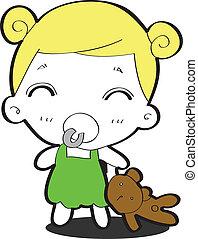 Cheerful baby hugging his teddy bea