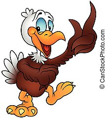 Cheerful Bald Eagle - Colored Cartoon Illustration, Vector