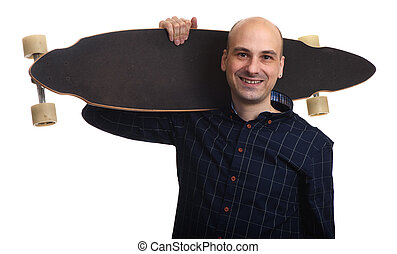 Cheerful bald man holding longboard isolated on white