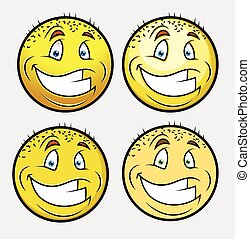 Cheerful Bald Smile Vector Set