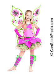 Cheerful barefooted girl posing in fairy costume. Isolated on white