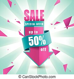 Cheerful bargain sale poster design with discount label