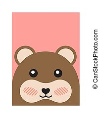 Cheerful Bear Portrait Isolated on Pink Background