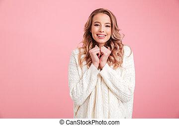 Cheerful beautiful young woman