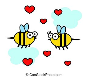 Cheerful bees on a white background. Cartoon. Vector