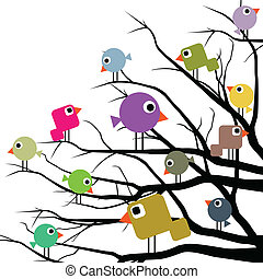 Cheerful birds - Illustration of a flock of birds in a ...