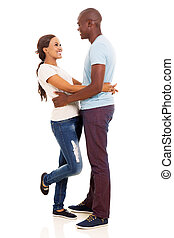 black couple hugging