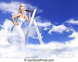 Cheerful, blond bride on heaven's stairs