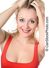 Cheerful blond woman