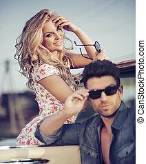 Cheerful blonde lady with handsome boyfriend - Cheerful...